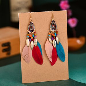 5 Colors Bohemian Tassel Feather Drop Earrings Ethnic Fashion Jewelry Gold Plated Leaf Earrings Cocktail Party Wedding Bridal Gifts