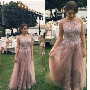 Blush Pink Lace Vestidos de baile para bodas en el Country Country Sheer Neck Tulle ajustados Vestidos largos de noche Zipper Full Length Cheap Engagement Dres