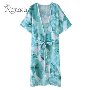 Romacci Mujeres Chiffon Kimono Cardigan Hojas Estampado Media manga Tie-cintura saida de praia Prendas de abrigo sueltas Bikini Cover Up Green