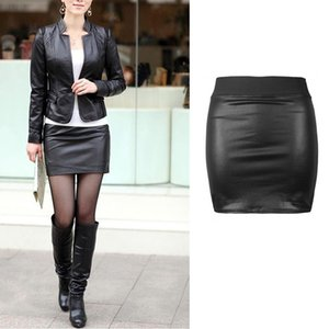 Bud mujeres atractivas ajustado de la falda de cuero de la PU mini falda corta de Cuero Negro mini falda
