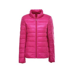 Fashion Winter Casual XXXXL Stand Collar Zipper Stitching Long Sleeves Thin Polyester Pockets Short Down Jacket Women