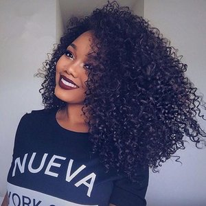 Kinky Curly Free Parting Glueless Full Lace Wigs Peruvian Human Hair Lace Front Wig Kinky Curly No Shedding With Natural Hairline For Women