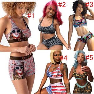 Maillot de bain femme 2 pièces bikini ensemble Push Up Vest Bras réservoir + Shorts Costume Natation États-Unis Rayé Patchwork Plage Maillots de bain D52701