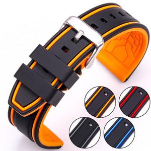 HENGRC Yumuşak Silikon Watch Band Kayışı 20mm 22mm 24mm 26mm Moda Kadınlar Erkekler Renk Eşleştirme saat kayışı Kauçuk Bileklik
