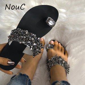 NouC cristal brillant Chaussons femmes chaussures sandales de plage d'été plat Mode Slipper extérieur Diapositives Zapatos De Mujer Chaussures pour femmes