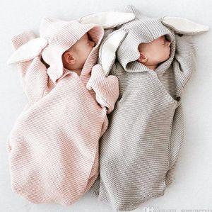 Sıcak satmak Yenidoğan bebek uyku tulumları bebek erkek kız örme uyku çuval bebekler tavşan tavşan kulak hooder uyku çuval INS Bebek swaddler T0182