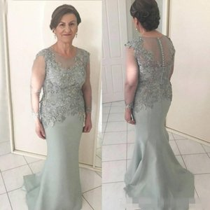 Vintage Long Sleeve Mother Of The Bride Dresses Jewel Neck Appliques Mermaid Prom Dress For Groom Mother Plus Size 2020 Formal Evening Gowns