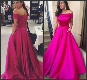 Off the Shoulder Long Fuchsia Satinwith Pocket 2019 Sexy Ruched A Line Celebrity Prom Vestidos de fiesta Vestidos de noche formales a medida