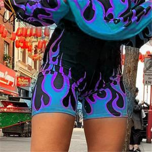 Weekeep 화염 인쇄 높은 허리 스트리트 반바지 여성 패션 Bodycon 자전거 반바지 2019 패션 짧은 팜므 T200602