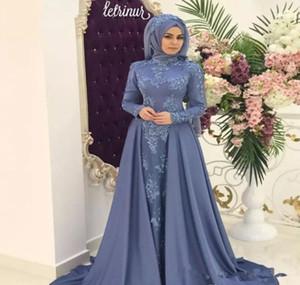 2019 árabe árabe musulmán vestido de noche de cuello alto Hijab manga larga de vacaciones de las mujeres usan vestido formal del partido por encargo más tamaño