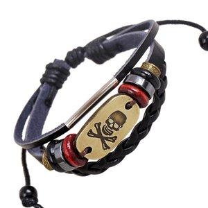 Piraten Stil Schädel Charme Perlen Armbänder Masculina Strang Geflochtene Gewebte Perlen Leder Armband Frauen Partei Schmuck Zubehör