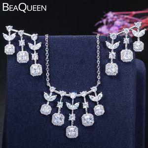 Bequeen الرائعة Zircon Crystal Leaf Dangle Drop Tassel Pendant قلادة والأقراط مجموعات مجوهرات للنساء JS224
