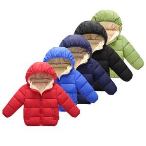 Bebek Boys Kış Coat Katı Kapşonlu Casual Giyim Kız Çocuk Sıcak Kalınlaşmak eskitmek 07 tutun Artı Kadife Sonbahar Kış Kaban Çocuk Pockets