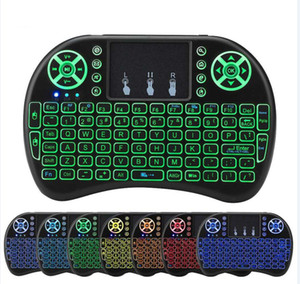 Mini teclado sin hilos i8 backlit Air Mouse 2.4G teclado de control remoto Panel táctil Batería de litio recargable para Android TV Box
