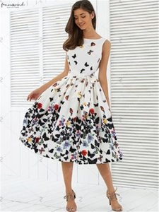 Women Floral Skater Swing Dress Evening Party Cocktail Wedding Casual Banquet Sundress Spring Women Midi Vintage Dress Tunic Sleeveless