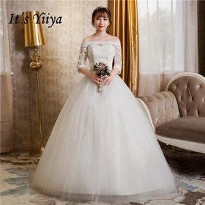 Free Shipping 2017 Plus size Boat neck White Lace Sleevs wedding Dresses Princess Bride Gowns Frock Vestidos De Novia HS248 T200604