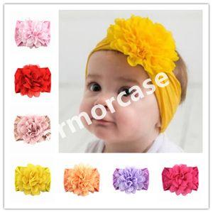 Bebek Bebek şifon Çiçek Kafa Çocuk Kız Prenses Katı Renk Saç Bandı Yenidoğan Bebek Yumuşak Naylon hairbands Başkanı Wrap Turban CZ313