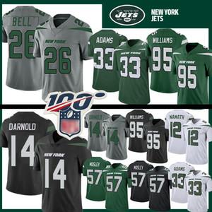 14 Sam Darnold 26 Le'Veon Bell New Jersey Football Iorque 33 Jamal Adams Jet 57 C. J. Mosley 12 Joe Namath Jet 95 Quinnen Williams Preto 2020