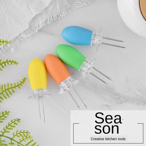 Stainless Steel Corn Fork Bbq Barbecue Corn Plug Convenient Heat-resistant Tpe Handle Corn Needle