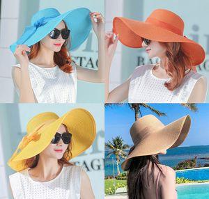 Mode Chapeau de paille Printemps Été femmes Chapeau Pliable Plage Bow élégant Sun Protection contre le soleil chapeaux large Brim Grand bord Chapeau de soleil