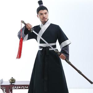 Ancien hanfu mâle arts martiaux vêtements de performance longue robe TV film stade usure cosplay costume Dynastie Han vêtements traditionnels