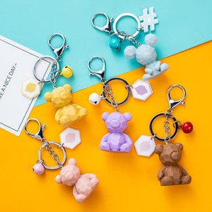 Creative simple Nordic style geometric cut surface type combined with animal bear car keychain cartoon bear unisex bag key chain