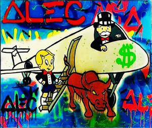 Alec Monopoly arte do grafite de luxo Avião Home Decor pintado à mão HD impressão pintura a óleo sobre tela Wall Art Canvas Pictures 200204