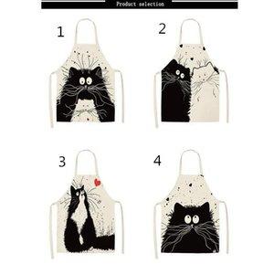 Tablier de cuisine drôle de chat imprimé manches coton lin Tabliers pour Hommes Femmes Accueil Outils de nettoyage
