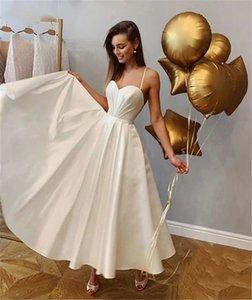 New Simple Satin Spaghetti Wedding Dresses Ankle Length Sweetheart Bridal Gowns Backless Custom Made Wedding Dress