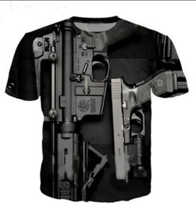 Neue Mode Männer Frauen Sommer Stil Gun Lustige 3D Tees Gedruckt Kurzarm Oansatz Beiläufiges T-shirt Tops DX0185