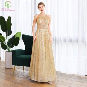 SSYFashion New Luxury Gold Evening Dress Sexy Halter Tassel Crystal Beading A-line Long Prom Formal Party Gowns Vestido De Noche