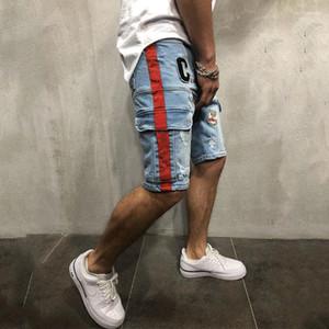 ملابس المراهقة في جيوب الشوارع المصممين السراويل القصيرة ذات الطول نصف Mens الصيف السراويل الجينز الجديدة النحيفة