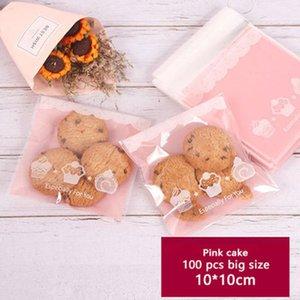 100pcs Self Adhesive Embalagem Bag fosco rosa da Saco do presente Transparente Birthday Party Biscuits Soap bolo