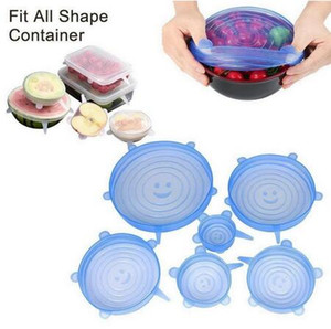 6PCS / 세트 재사용 가능한 실리콘 스트레치 뚜껑 보편적 인 뚜껑 실리콘 식품 포장 그릇 냄비 뚜껑 실리콘 커버 팬 요리 주방 스토퍼