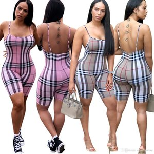 Summer Casual Playsuits Women Clothes Designer Plaids Spaghetti Strap Jumpsuits Rompers