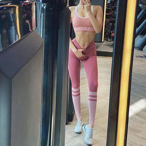 Çizgili dikişsiz kadın spor yoga pantolon yüksek bel spor tayt spor salonu yoga kadın spor çalıştıran spor pantolon tayt