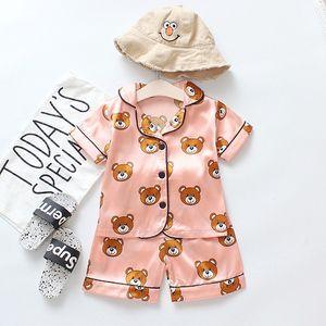 Детская Мода Пижамы Мальчики Девочки Летние Повседневные Пижамы Детский Бренд Мультфильм Медведь Домашний Сервис Мода Рукава Костюмы Мода Пижамы