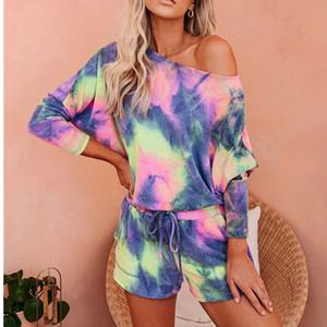 2 Piece Sets Pijamas Women Tie Dye Print Homewear Casual Tshirt Biker Shorts Sports Tracksuits Sleepwear Pajamas Lounge Wear