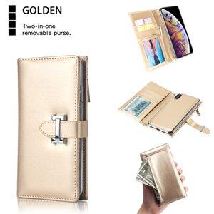 Flip Housse en cuir pour iPhone XS Max XR 8 Plus 2 en 1 carte Zipper Wallet Case Slim Fit Housse de protection amovible magnétique