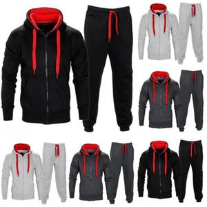 Mens Hoodie Zipper Cardigan Pantaloni tuta sportiva dei vestiti a due pezzi Uomini Set di abbigliamento Plus Size M-XXL