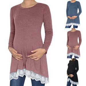 Las mujeres de manga larga con el cordón sólido ocasional ropa suelta maternidad embarazadas camiseta mezcla de algodón Pullover Tops