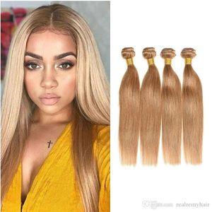 27# Honey Blonde Color Brazilian Silk Straight Hair 3 4 Bundles Colorido Virgin Human Hair Weaves Cheap Brazilian Human Hair Extension