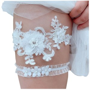 Kyunovia Wedding Garter Rhinestone Embroidery Flower Beading Sexy Garters for Women Bride Thigh Ring Bridal Leg Garter BY27