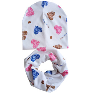 Autumn Winter Cotton Children Hat Scarf Set Animal Print Baby Hats Baby Girls Hat Baby Boys Neck Scarf Collar Kids Beanie Cap