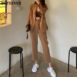 BGTEEVER Fashion Khaki Frauen Hose passt Einreiher Blazer Jacke mit hoher Taille Bleistift-Hosen 2020 Casual Weibliche 2 Stück Set