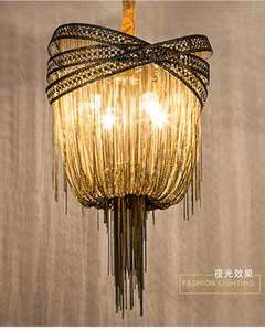 Bronce de aluminio moderna iluminación de la lámpara italiana diseño de la borla Lustres cadena colgante colgante de luz de la lámpara de la sala de estar dormitorio Foyer