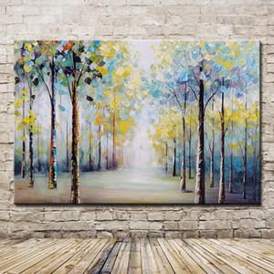 Mintura Sanat Büyük Beden El Ağaçlar Manzara Yağ Tuval Wall Art Pictures For Salon Ev Dekorasyonu Çerçeve Yok T200414 üzerinde Boyama Boyalı