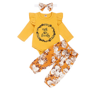 Sistemas del bebé de las muchachas de las muchachas infantiles Impreso letra de la historieta Tops Ropa de diseño para niños del niño de los pantalones florales Poco casual con banda de sujeción 06 Sombreros