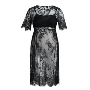 Women's Maternity Short Sleeve Lace Photography Ladies Dress Pregnancy Clothes Solid Color Blakc See-through Sleep Nightwear