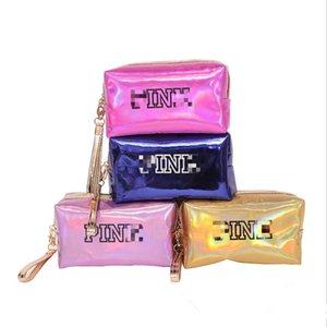 Le donne sacchetto di trucco rosa Laser cosmetico di borsa da toilette di lavaggio del sacchetto di bellezza della chiusura lampo compone la cassa di immagazzinaggio borsa dell'organizzatore